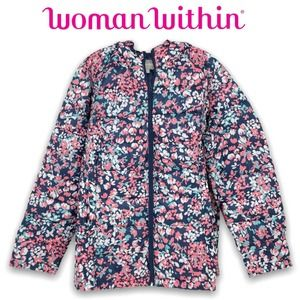 Woman Within Puffer Jacket Floral Hooded